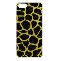Skin1 Black Marble & Yellow Leather Apple Iphone 5 Seamless Case (white) by trendistuff