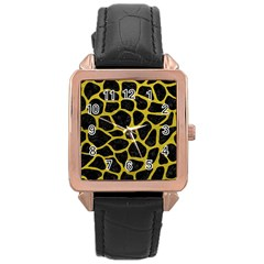 Skin1 Black Marble & Yellow Leather Rose Gold Leather Watch  by trendistuff