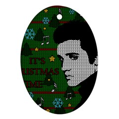 Elvis Presley   Christmas Oval Ornament (two Sides) by Valentinaart
