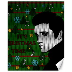 Elvis Presley   Christmas Canvas 11  X 14   by Valentinaart