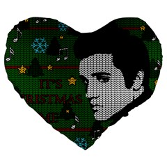 Elvis Presley   Christmas Large 19  Premium Heart Shape Cushions by Valentinaart