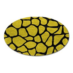 Skin1 Black Marble & Yellow Leather (r) Oval Magnet by trendistuff