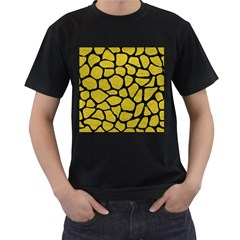Skin1 Black Marble & Yellow Leather (r) Men s T Shirt (black) by trendistuff