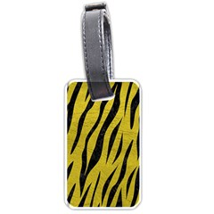 Skin3 Black Marble & Yellow Leather Luggage Tags (one Side)