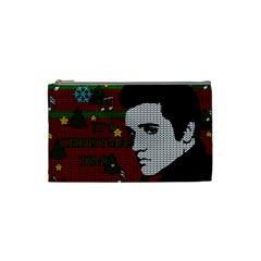 Elvis Presley   Christmas Cosmetic Bag (small)  by Valentinaart