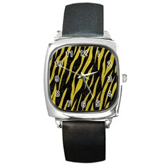 Skin3 Black Marble & Yellow Leather (r) Square Metal Watch by trendistuff
