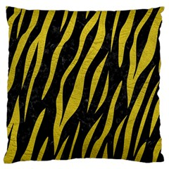Skin3 Black Marble & Yellow Leather (r) Standard Flano Cushion Case (one Side) by trendistuff