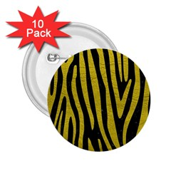 Skin4 Black Marble & Yellow Leather 2 25  Buttons (10 Pack)  by trendistuff