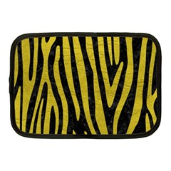 Skin4 Black Marble & Yellow Leather Netbook Case (medium)