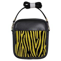 Skin4 Black Marble & Yellow Leather Girls Sling Bags by trendistuff