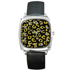Skin5 Black Marble & Yellow Leather Square Metal Watch