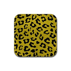 Skin5 Black Marble & Yellow Leather (r) Rubber Square Coaster (4 Pack)  by trendistuff