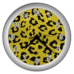 Skin5 Black Marble & Yellow Leather (r) Wall Clocks (silver)  by trendistuff