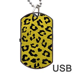 Skin5 Black Marble & Yellow Leather (r) Dog Tag Usb Flash (one Side) by trendistuff