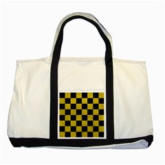 Square1 Black Marble & Yellow Leather Two Tone Tote Bag by trendistuff