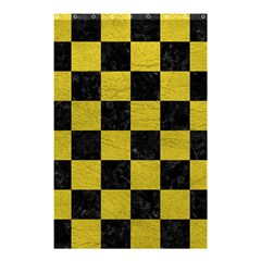 Square1 Black Marble & Yellow Leather Shower Curtain 48  X 72  (small)  by trendistuff