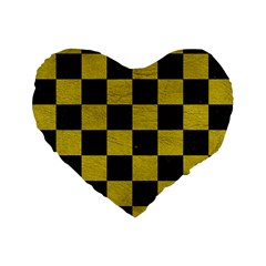 Square1 Black Marble & Yellow Leather Standard 16  Premium Flano Heart Shape Cushions by trendistuff