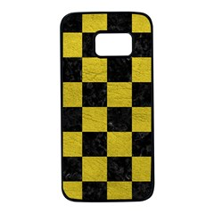 Square1 Black Marble & Yellow Leather Samsung Galaxy S7 Black Seamless Case
