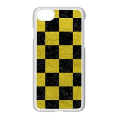 Square1 Black Marble & Yellow Leather Apple Iphone 8 Seamless Case (white)