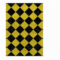 Square2 Black Marble & Yellow Leather Large Garden Flag (two Sides) by trendistuff