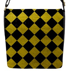 Square2 Black Marble & Yellow Leather Flap Messenger Bag (s) by trendistuff