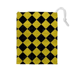Square2 Black Marble & Yellow Leather Drawstring Pouches (large)  by trendistuff