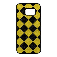 Square2 Black Marble & Yellow Leather Samsung Galaxy S7 Black Seamless Case