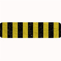 Stripes1 Black Marble & Yellow Leather Large Bar Mats by trendistuff