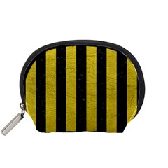 Stripes1 Black Marble & Yellow Leather Accessory Pouches (small)  by trendistuff