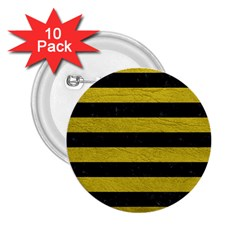 Stripes2 Black Marble & Yellow Leather 2 25  Buttons (10 Pack)  by trendistuff