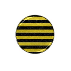 Stripes2 Black Marble & Yellow Leather Hat Clip Ball Marker (10 Pack) by trendistuff