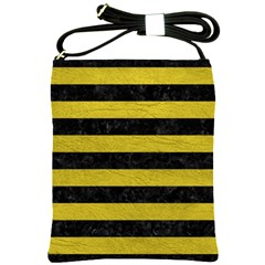 Stripes2 Black Marble & Yellow Leather Shoulder Sling Bags by trendistuff