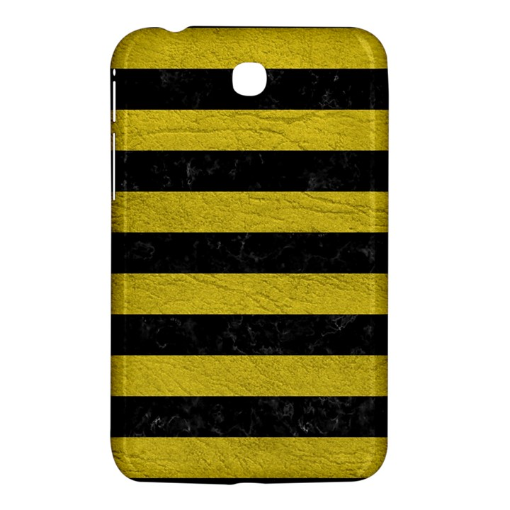 STRIPES2 BLACK MARBLE & YELLOW LEATHER Samsung Galaxy Tab 3 (7 ) P3200 Hardshell Case