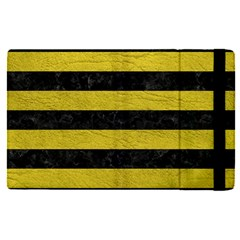Stripes2 Black Marble & Yellow Leather Apple Ipad Pro 9 7   Flip Case by trendistuff