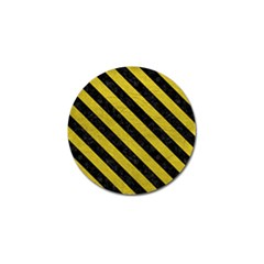 Stripes3 Black Marble & Yellow Leather Golf Ball Marker (10 Pack)