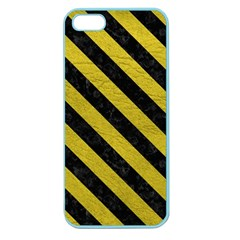 Stripes3 Black Marble & Yellow Leather Apple Seamless Iphone 5 Case (color) by trendistuff