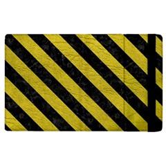 Stripes3 Black Marble & Yellow Leather Apple Ipad 3/4 Flip Case