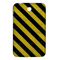 Stripes3 Black Marble & Yellow Leather Samsung Galaxy Tab 3 (7 ) P3200 Hardshell Case