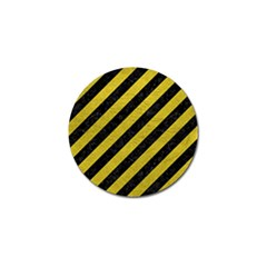 Stripes3 Black Marble & Yellow Leather (r) Golf Ball Marker by trendistuff