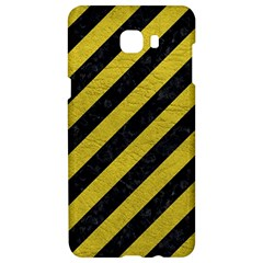 Stripes3 Black Marble & Yellow Leather (r) Samsung C9 Pro Hardshell Case  by trendistuff