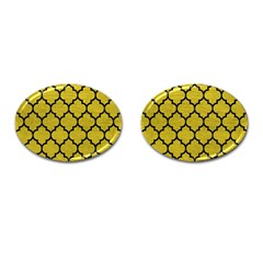 Tile1 Black Marble & Yellow Leather Cufflinks (oval) by trendistuff