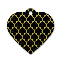 Tile1 Black Marble & Yellow Leather (r) Dog Tag Heart (one Side) by trendistuff