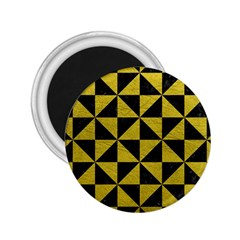 Triangle1 Black Marble & Yellow Leather 2 25  Magnets by trendistuff