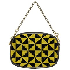 Triangle1 Black Marble & Yellow Leather Chain Purses (two Sides)  by trendistuff