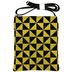 Triangle1 Black Marble & Yellow Leather Shoulder Sling Bags by trendistuff