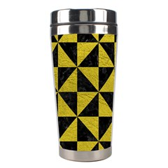 Triangle1 Black Marble & Yellow Leather Stainless Steel Travel Tumblers by trendistuff