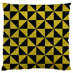 Triangle1 Black Marble & Yellow Leather Standard Flano Cushion Case (one Side) by trendistuff