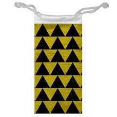 Triangle2 Black Marble & Yellow Leather Jewelry Bag by trendistuff