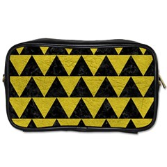 Triangle2 Black Marble & Yellow Leather Toiletries Bags 2 Side by trendistuff