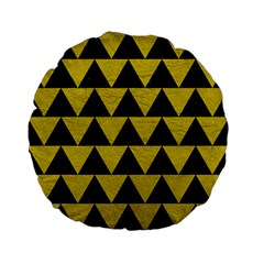 Triangle2 Black Marble & Yellow Leather Standard 15  Premium Flano Round Cushions by trendistuff